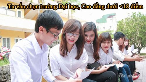 tu van chon truong dai hoc cao dang duoi 18 diem 2