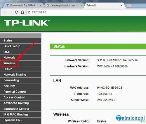 cach doi mat khau wifi tl wr1043nd 2