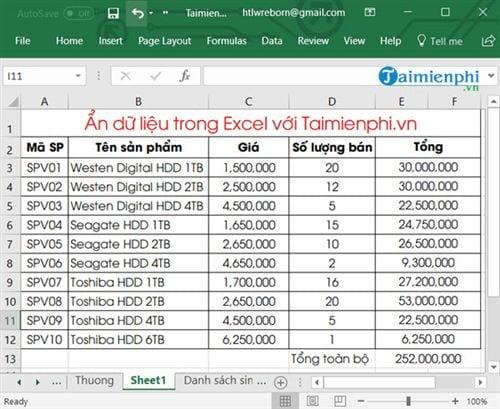 Ẩn hiện dữ liệu trong Excel 1