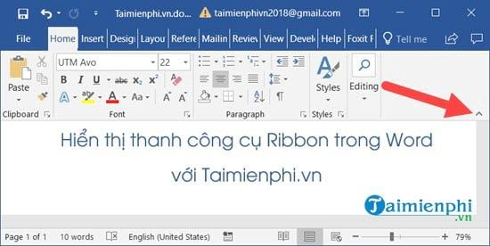 cach an hien thanh cong cu ribbon trong word excel 2