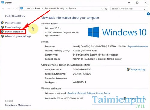 cach bat tat system restore tren windows 10 2