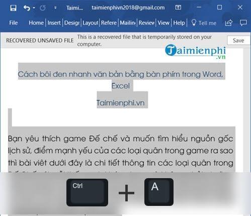 Cách bôi đen nhanh văn bản bằng bàn phím trong Word, Excel 1