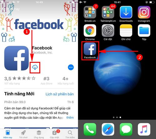 cach cai facebook tren iphone 7 6s 6 5s 5 4 2