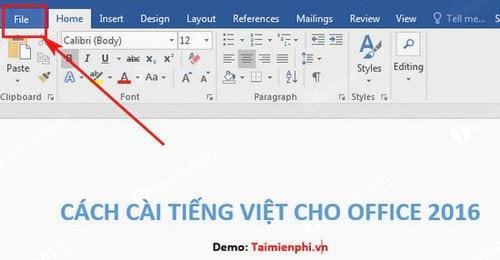 Cách cài tiếng Việt cho Office 2016 1