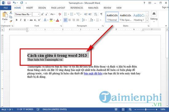 cach can giua o trong word 2013 2