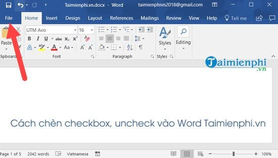 cach chen checkbox uncheck vao word 2