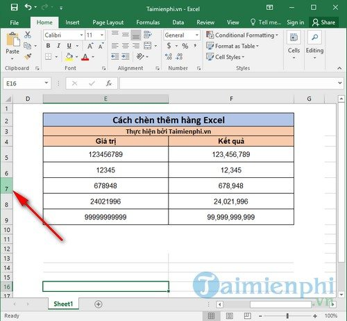 cach chen them hang trong excel 2