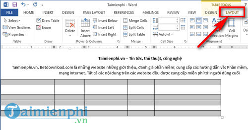can deu cot trong word