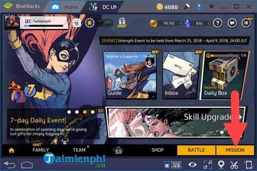 cach choi che do mission battle mode trong dc unchained tren bluestacks 2