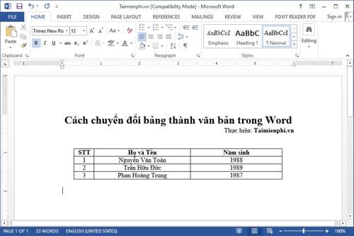 cach chuyen doi bang thanh van ban trong word 2