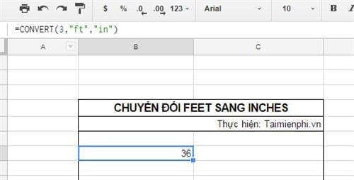 cach chuyen feet sang inches tren google sheets 2