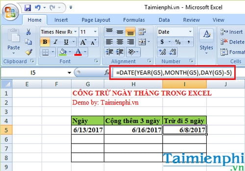cach cong tru ngay thang trong excel 2