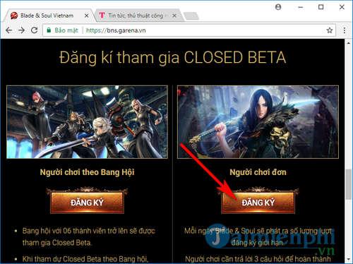 Cách đăng ký tài khoản Blade & Soul, game nhập vai HOT trên Garena 1