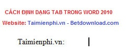 cach dinh dang tab trong word 2010