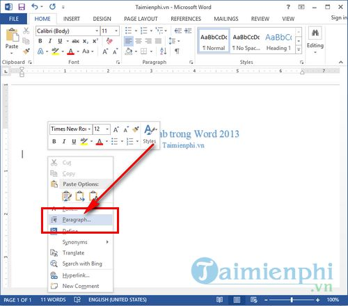 cach dinh dang tab trong word 2013 2