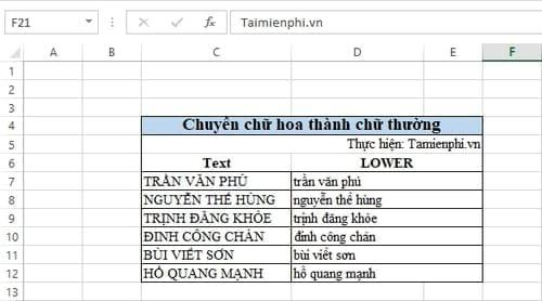 Cách đổi chữ hoa sang chữ thường trong Excel 1