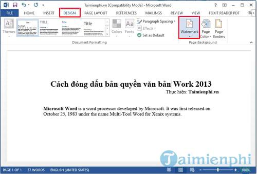 cach dong dau ban quyen van ban word 2013 2