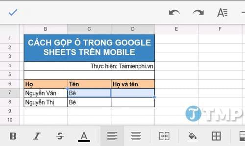 cach gop o trong google sheets 2