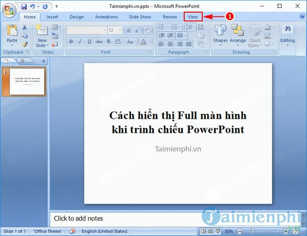 cach hien thi full man hinh khi trinh chieu powerpoint 2