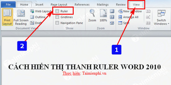 cach hien thi thanh ruler word 2010 2