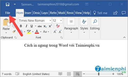 cach in ngang trong word excel 2