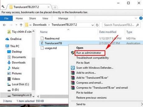 Cách làm trong suốt thanh Taskbar trên Windows 10 bằng TranslucentTB 1