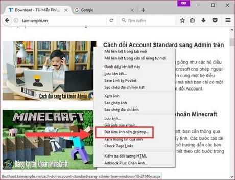 Cách nhanh nhất để lấy 1 hình ảnh trên mạng làm hình nền máy tính, laptop