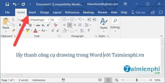 Cách lấy thanh công cụ drawing trong Word 1