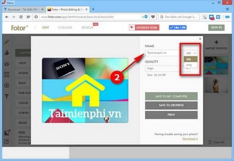 Cách lưu ảnh, save ảnh trong ứng dụng Fotor nền web