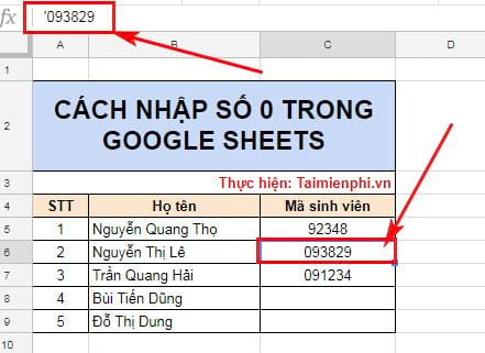 cach nhap so 0 trong google sheets 2