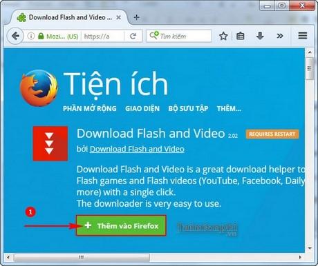 Cách tải video facebook trên Firefox, download video facebook trên trì