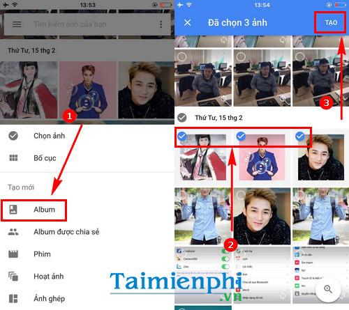 cach tao album tren google photos 2