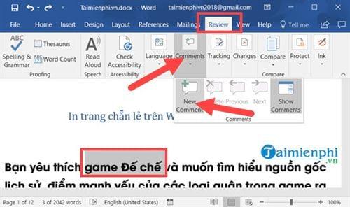Cách tạo comment trong Word, tạo và xóa comment 1