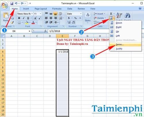 Cách tạo ngày tháng tăng dần trong Excel 1