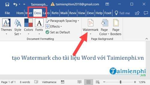 cach tao watermark cho tai lieu word 2