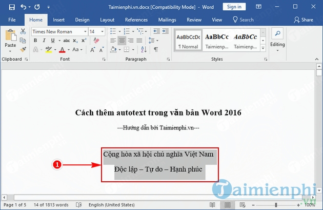 cach them autotext trong van ban word 2016 2