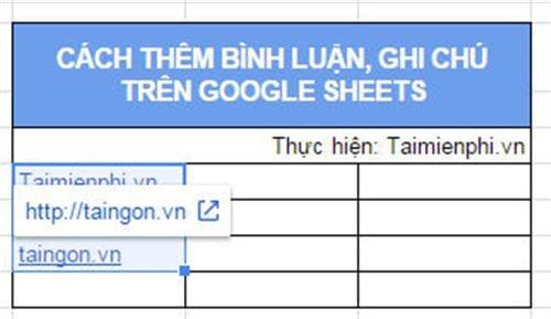 cach them ghi chu binh luan tren google sheets 2