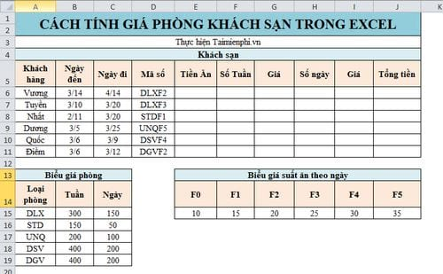 cach tinh gia phong khach san trong excel dung ham vlookup hlookup mod int left va right 2