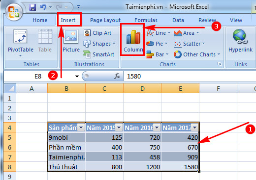 cach ve do thi trong excel 2