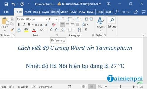 cach viet do c trong word 2