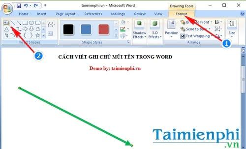 Cách viết ghi chú mũi tên trong Word 1