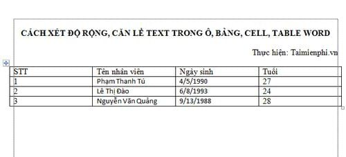 cach xet do rong can le text trong o bang cell table word 2