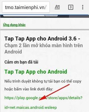 cham hai lan mo khoa man hinh tap tap app
