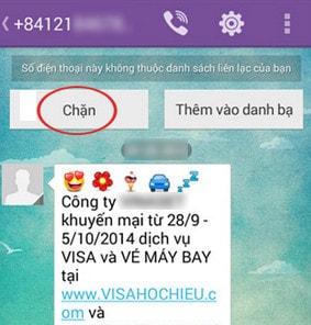 Chan sms viber