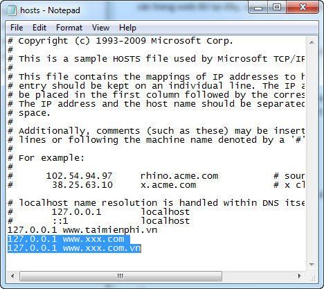 Highlight the host file