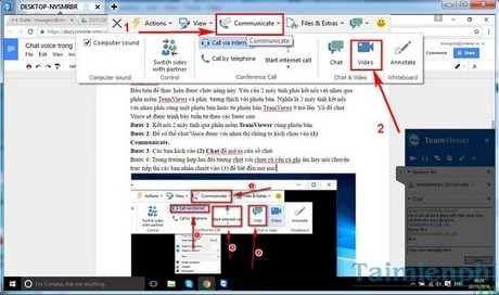 chat video trong teamviewer