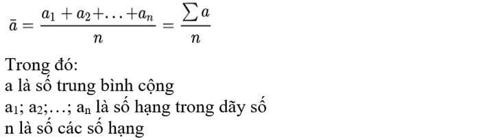 Công thức tính trung bình cộng đơn giản 1