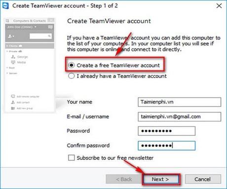 Đăng ký Teamviewer, tạo tài khoản Teamviewer