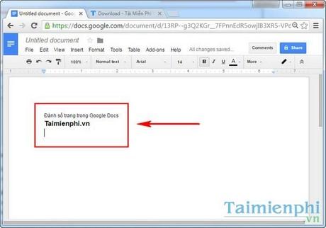Đánh số trang trong Google Docs