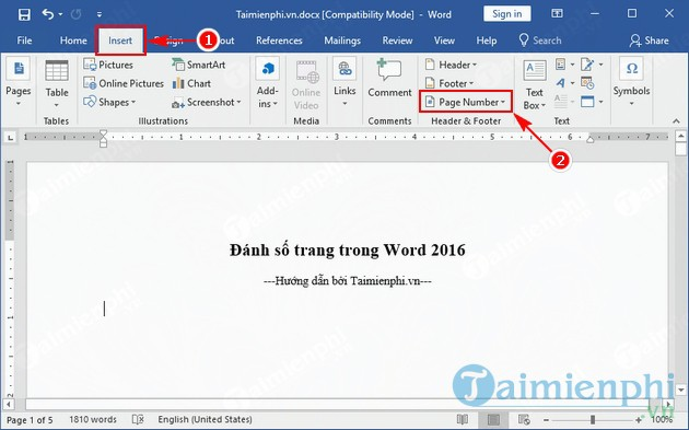 danh so trang trong word 2016 2